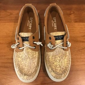 Sperry | Gold Snakeskin Boat Shoes NWOT